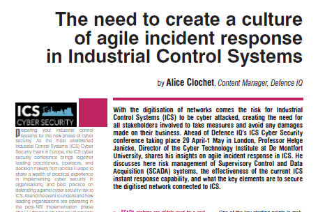The need to create a culture of agile incident response in Industrial Control Systems.