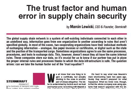 The trust factor and human error in supply chain security