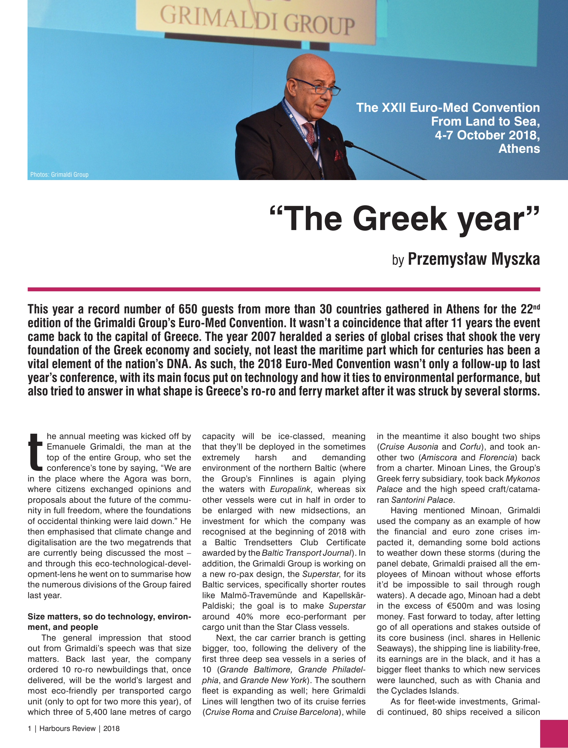 """The Greek year"". The XXII Euro-Med Convention From Land to Sea, 4-7 October 2018, Athens by Przemysław Myszka"