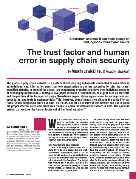 HR 2/19 The trust factor and human error in supply chain security