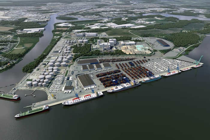 Visualization of the modernised Pampus Harbour in the Port of Norrköping (photo: Port of Norrköping)