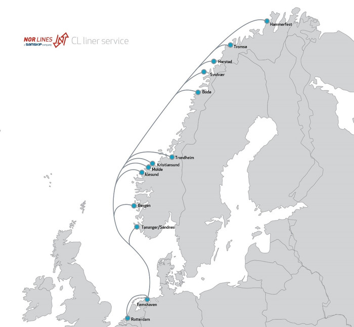 Nor Lines/Samskip's Norwegian network (photo: Nor Lines)
