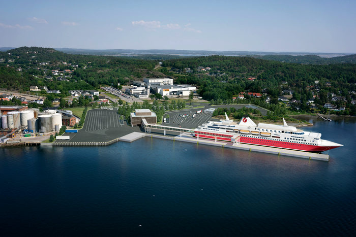 Visualisation of Fjord Line's new ferry terminal in Sandefjord (photo: Fjord Line)